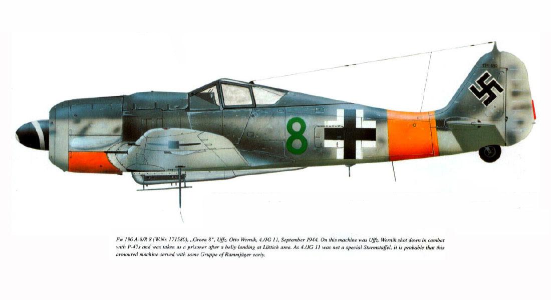 Focke Wulf Fw 190A8 4.JG11 Green 8 Otto Wernik WNr 171580 Luttich 1944 0A