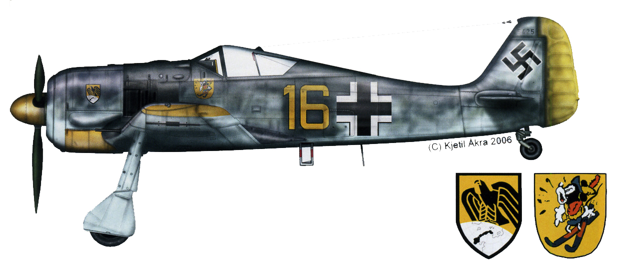 Focke Wulf Fw 190A2 12.JG5 Yellow 16 Kurt Kundrus WNr 5425 Herdla Norway 1943 0A