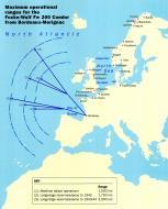 Asisbiz Artwork Map showing range of Fw 200 Condor from France to Atlantic