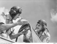 Asisbiz Aircrew RAAF 3Sqn Tomahawk SqnLdr Peter Jeffery with FOff Peter Turnbull at Palestine June 1941 AWM MEA0191