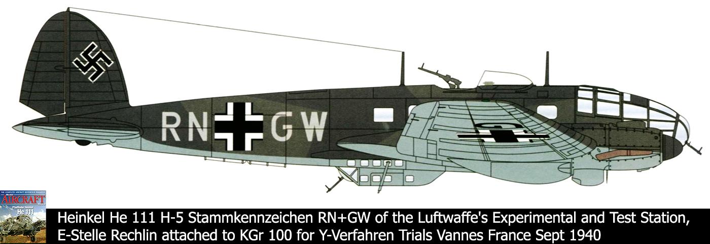 Heinkel He 111H5 Stkz RN+GW KG100 for Y Verfahren trials Vannes Sep 1940 0A