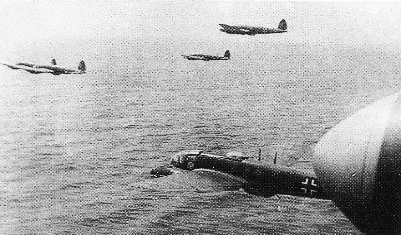 Heinkel He 111s of 2.KG100 flying low over the Channel to avoid radar 1940 01