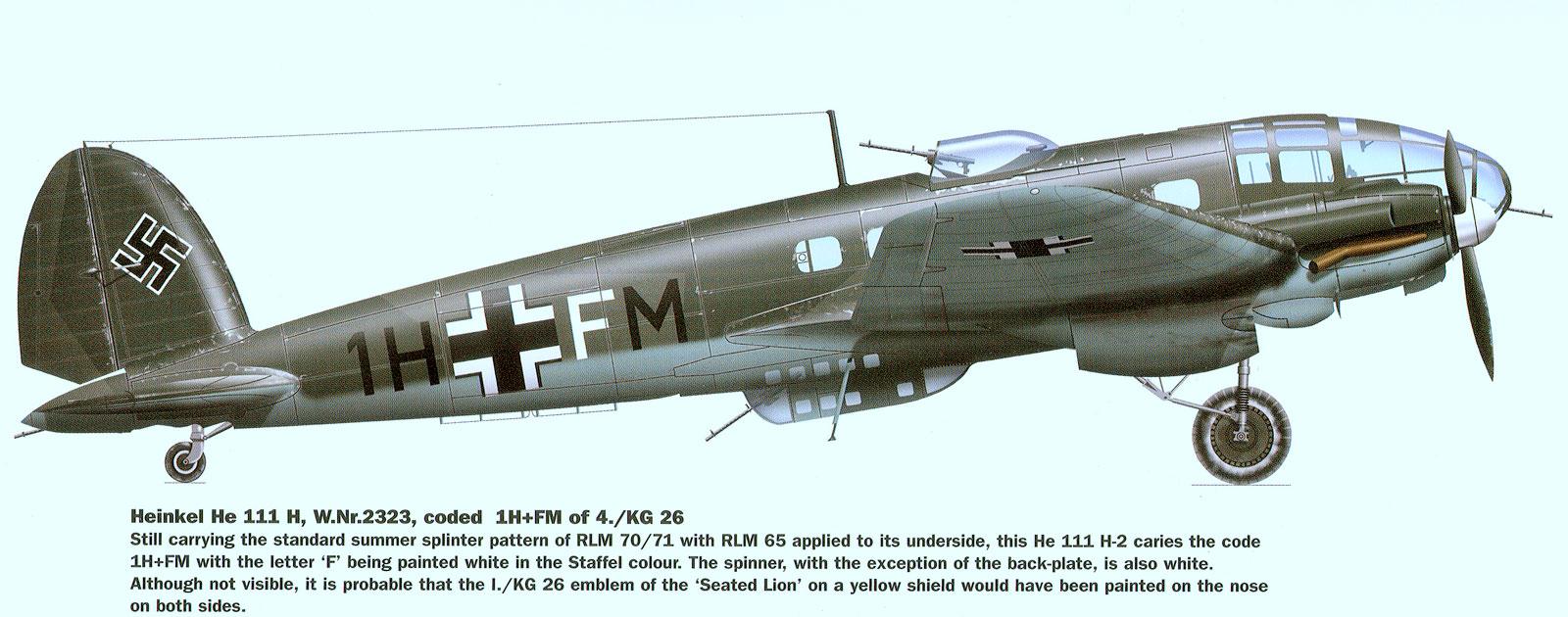Heinkel He 111 KG26 1H+FM France 1940 0A
