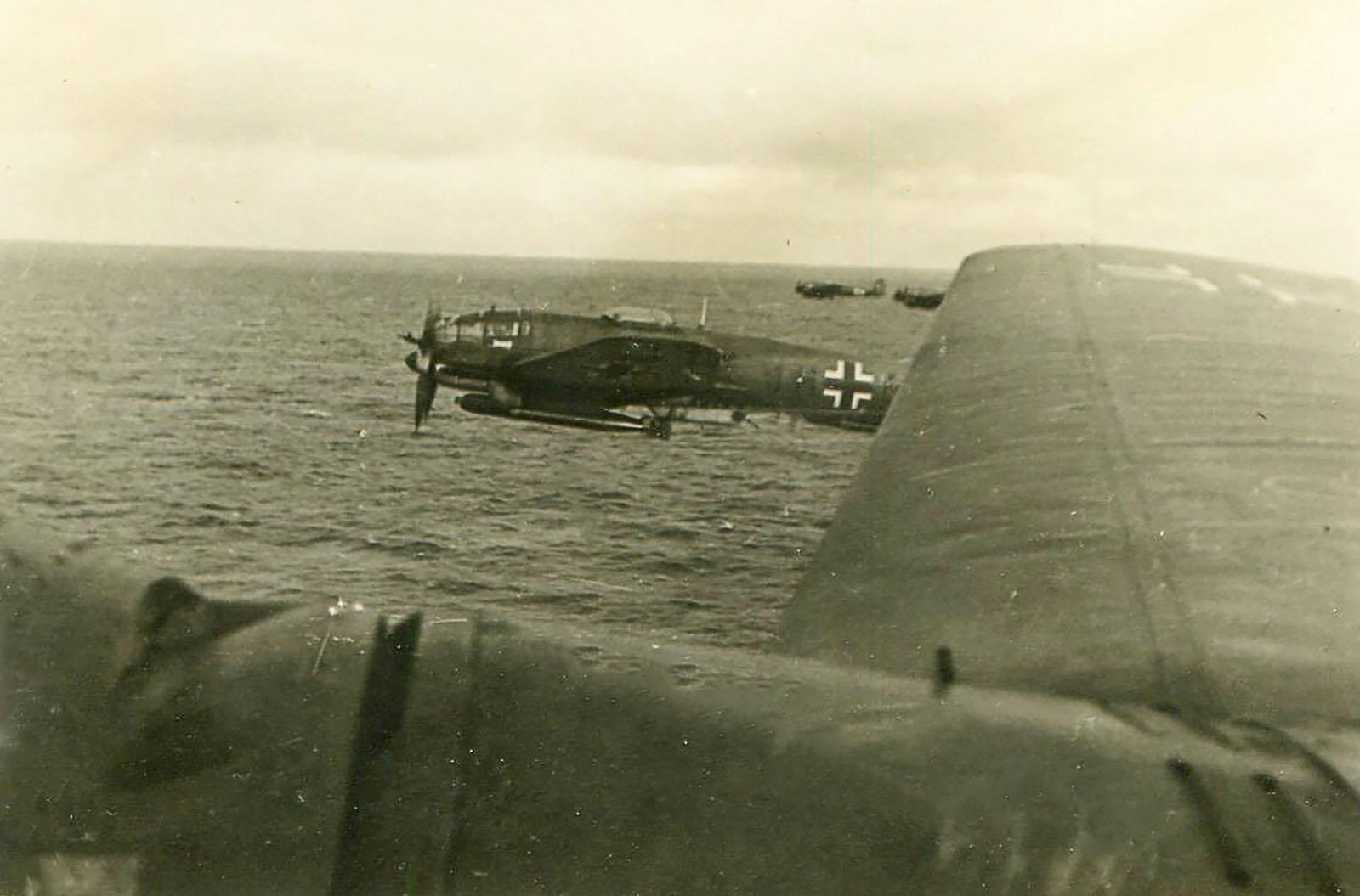 Heinkel He 111 KG26 armed with torpedos flying very low North Sea Norway 1942 01