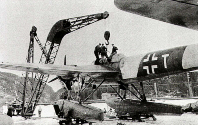 Heinkel He 115B1 1.KuFlGr406 (K6+TH) undergoing repairs Trondheim Norway 1942