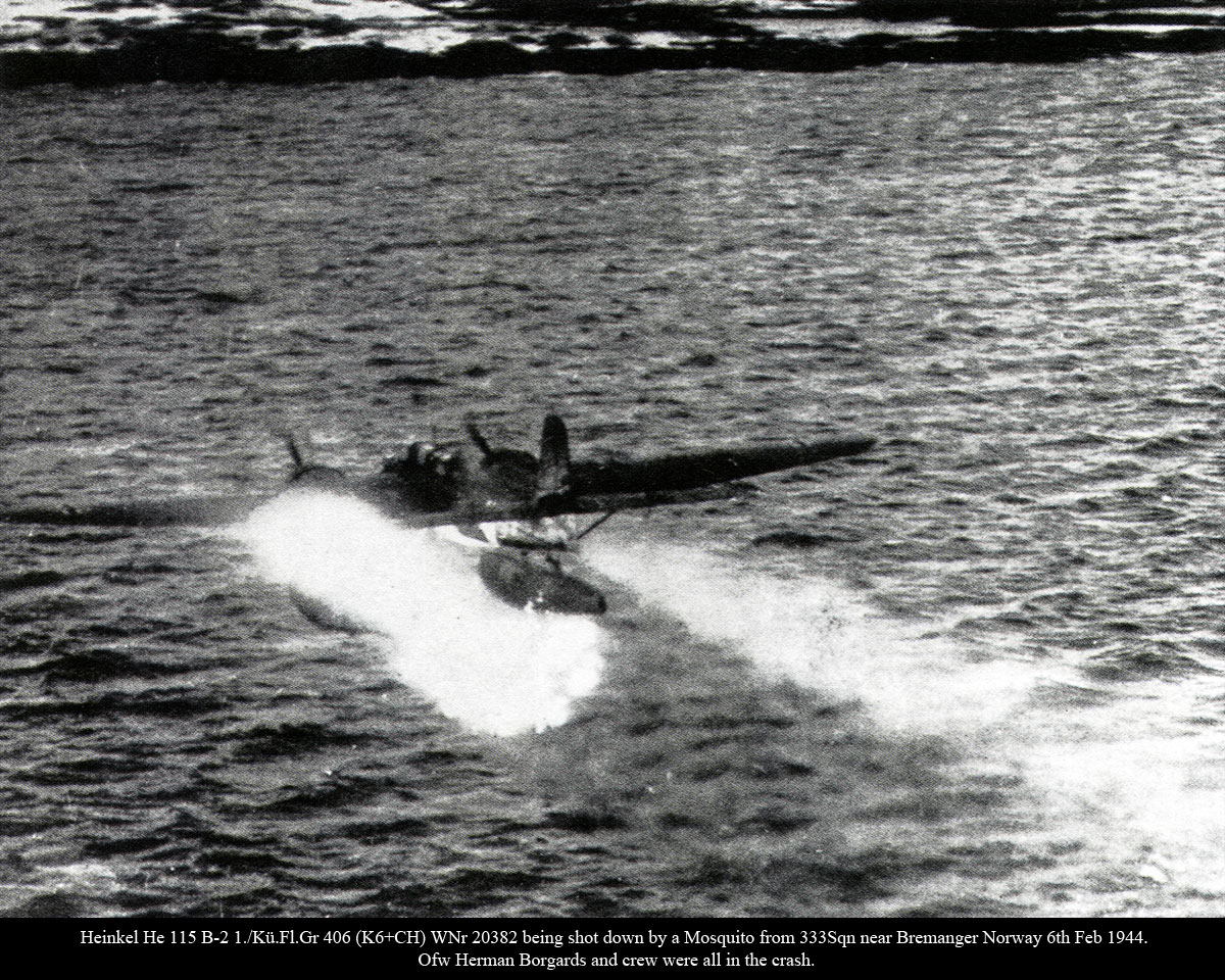 Heinkel He 115B2 1.KuFlGr406 (K6+CH) shot down by a Mosquito from 333Sqn Norway 6th Feb 1944 01