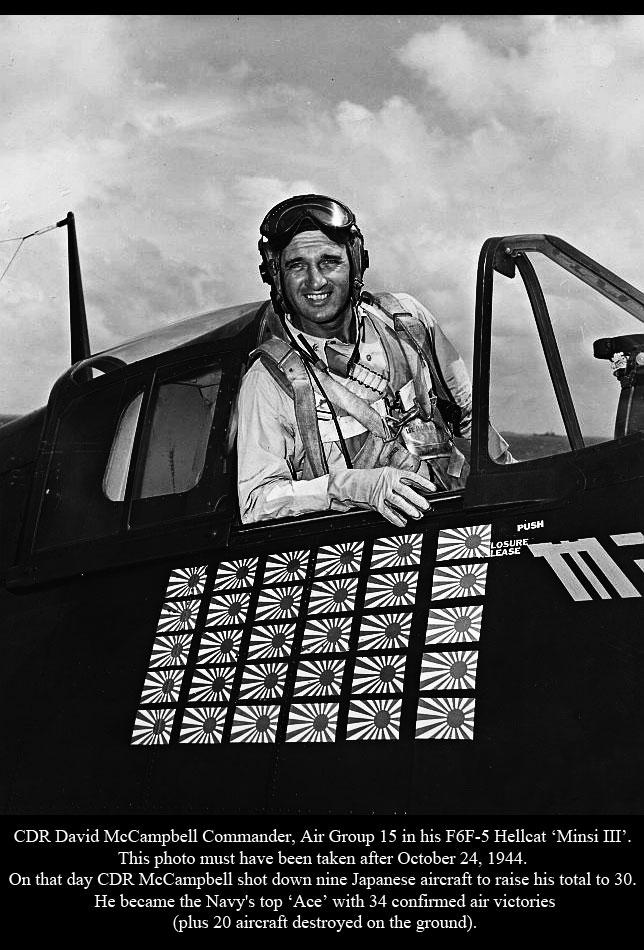 Aircrew USN CDR David McCampbell Commander Air Group 15 in his F6F 5 Hellcat Minsi III 02