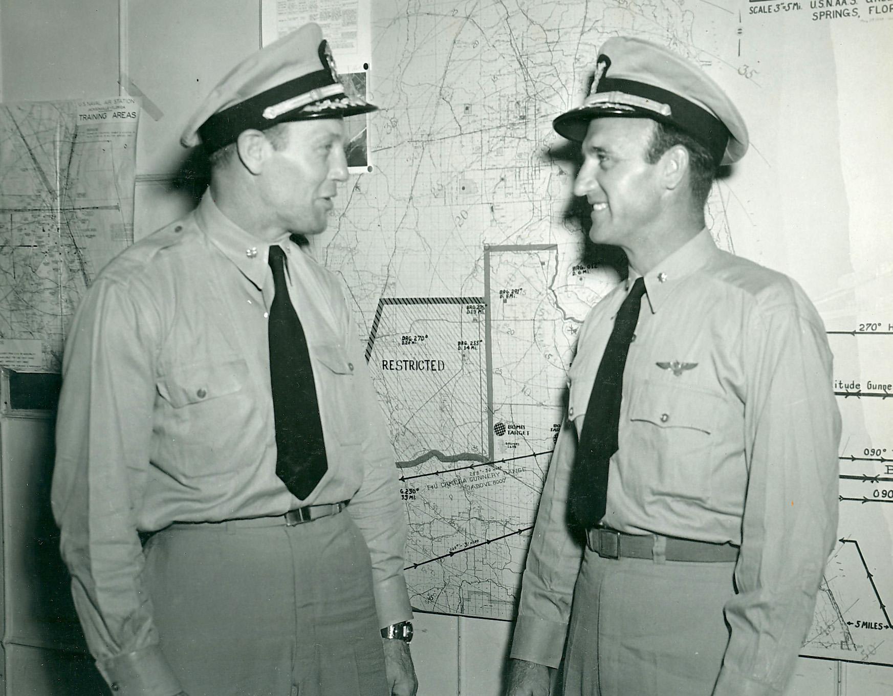 Aircrew USN Commander Joseph C Clifton meets with Commander David McCampbell c 1944 01