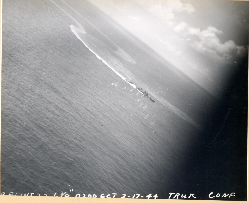Strike photograph of raid against Truk by aircraft off CV 11 USS Intrepid 03