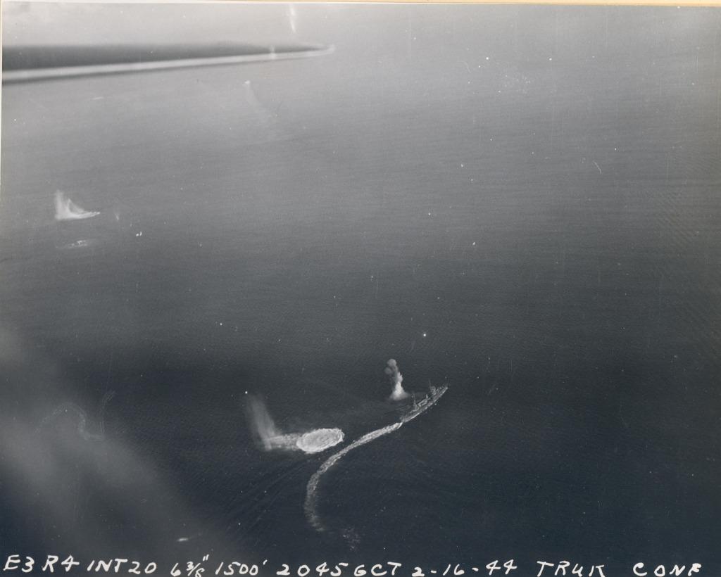 Strike photograph of raid against Truk by aircraft off CV 11 USS Intrepid 05