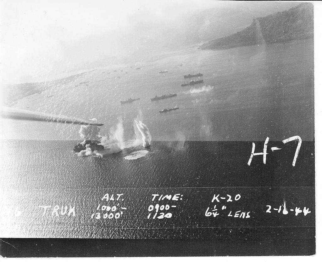 Strike photograph taken during an attack against Truk Atoll 1944 02