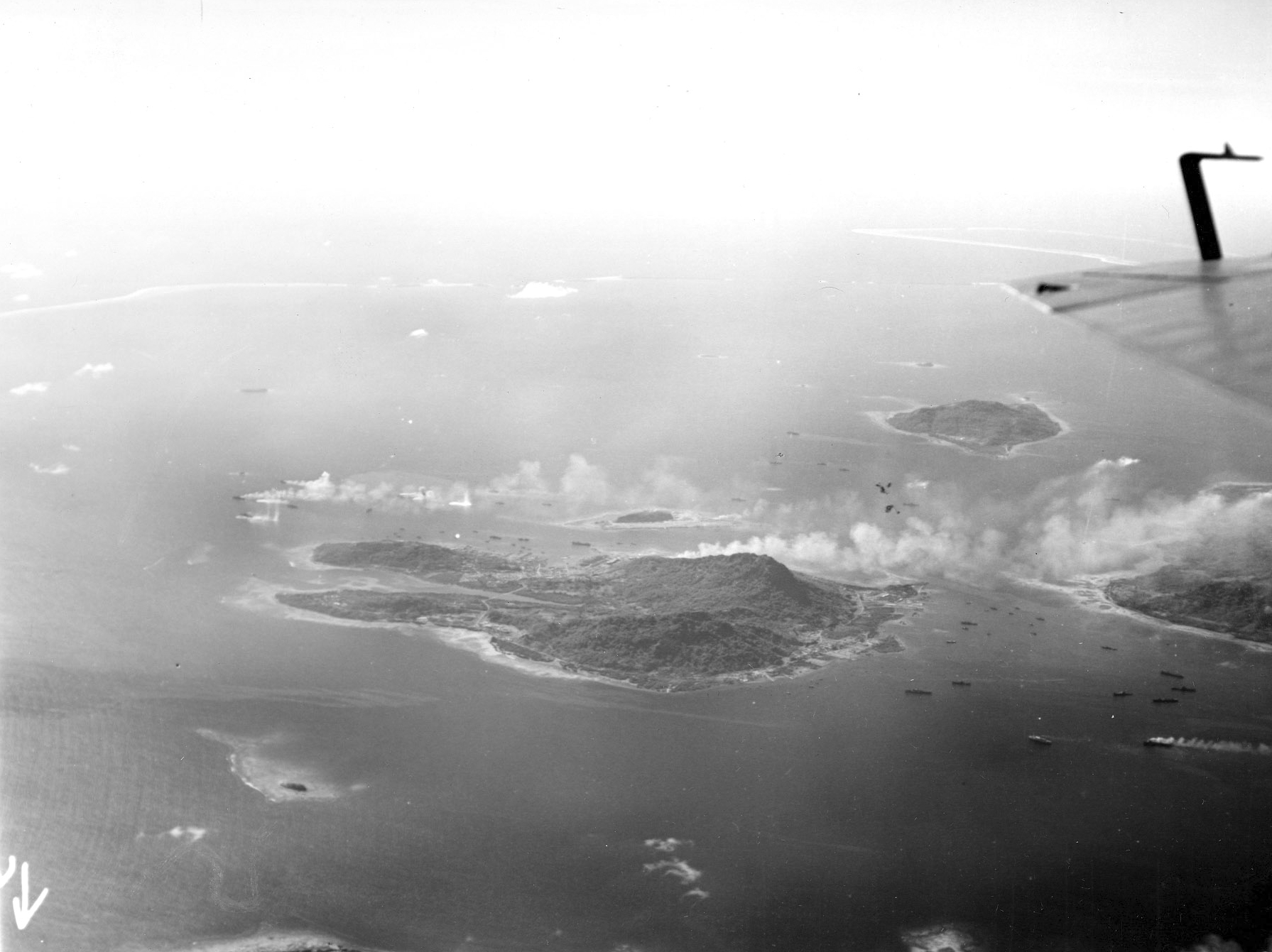 Truk Atoll under attack aerial view from Moen 1944 02