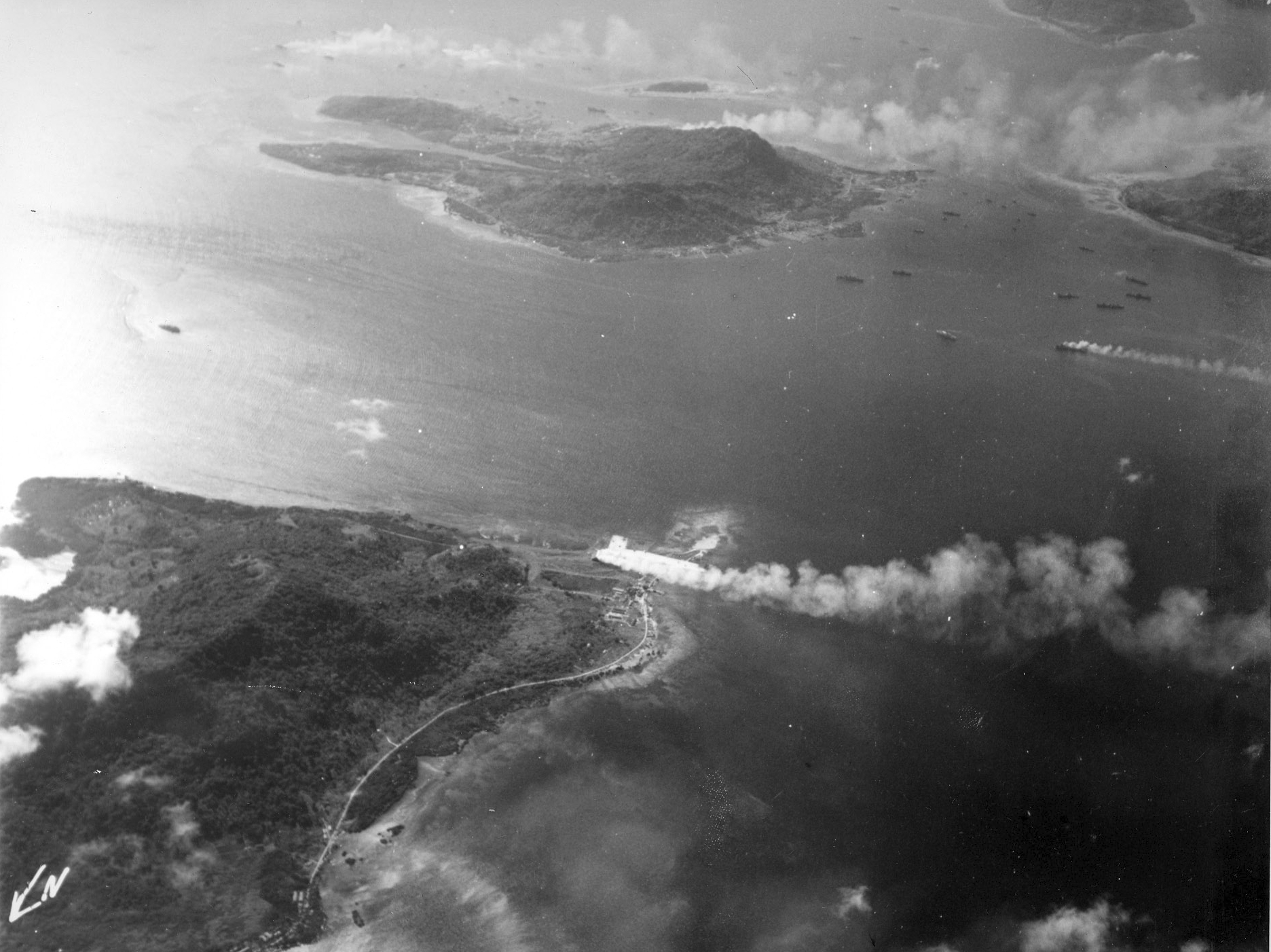 Truk Atoll under attack aerial view from Moen 1944 03