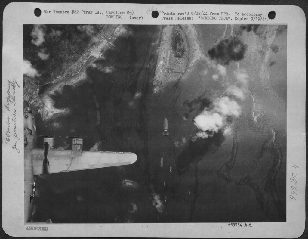 USAAF B 24 Liberators bombing Truk Lagoon airbase 1944 01
