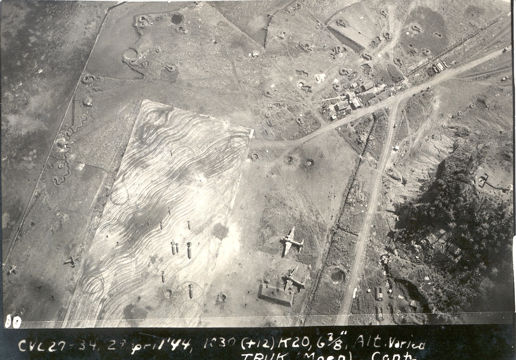 USAAF B 24 Liberators bombing Truk Lagoon airbase 1944 02