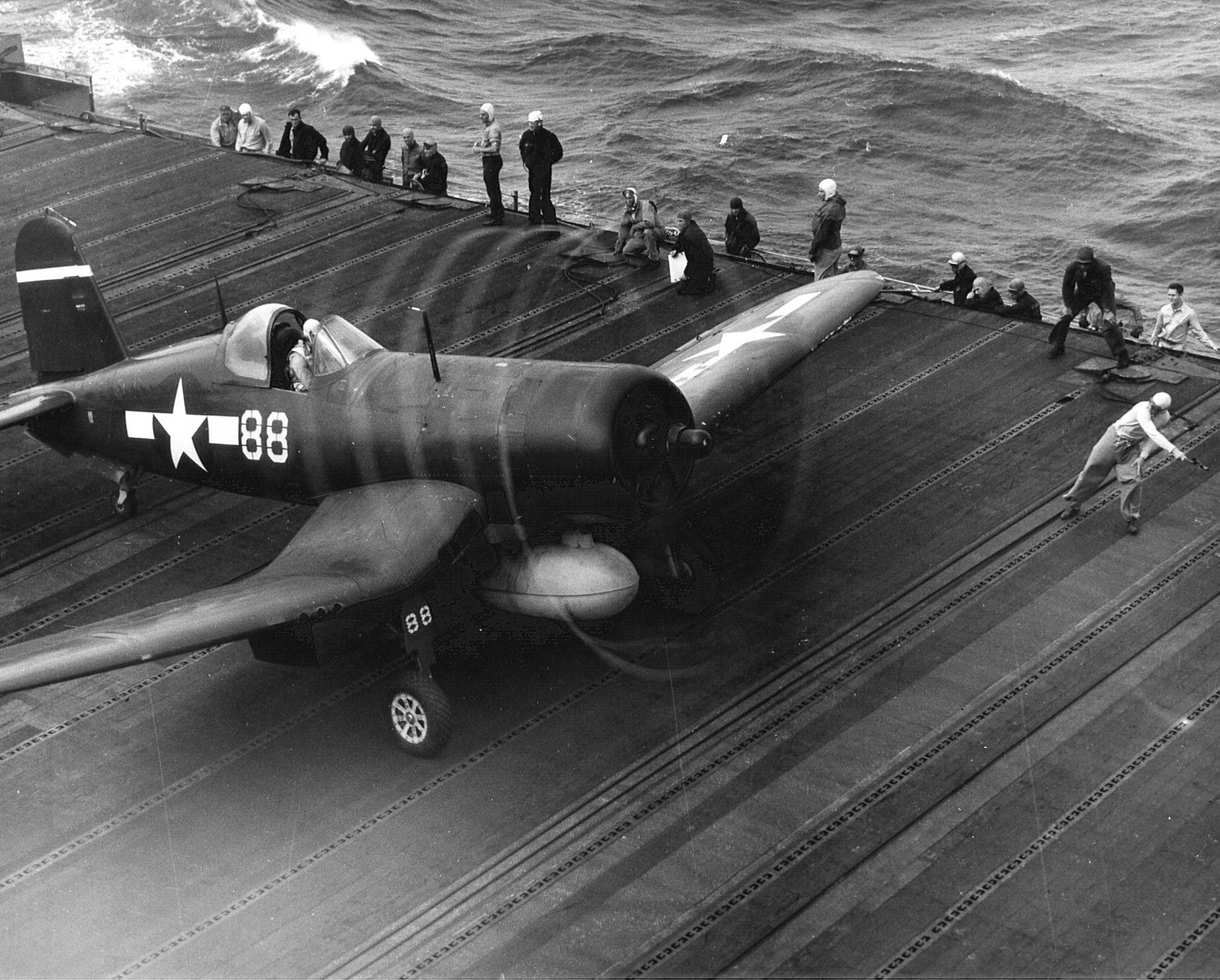 Vought F4U 1D Corsair CAG 15 White 88 launches from CV 9 USS Essex 25th Jan 1945 01