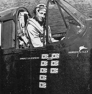 Aircrew US Navy pilot Hugh Winters showing his 8 kills 01