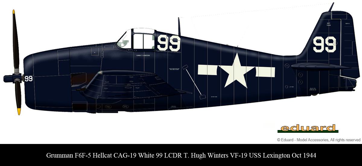 Grumman F6F 5 Hellcat CAG 19 99 LCDR T Hugh Winters VF 19 USS Lexington Oct 1944 01