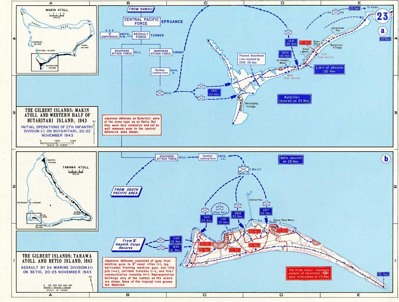 Artwork map showing USN attacks on Makin and Tarawa 1943 0A