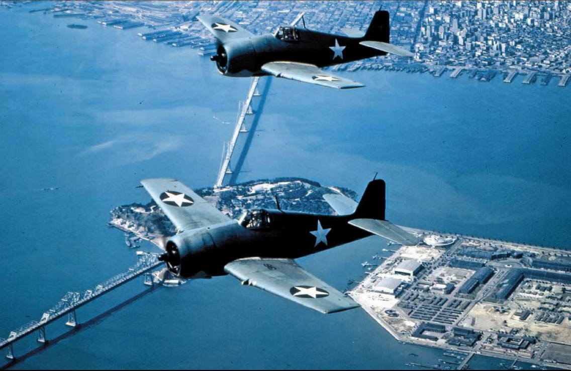 Beautiful aerial photo showing a pair of Grumman F6F 3 Hellcats in formation state side 01