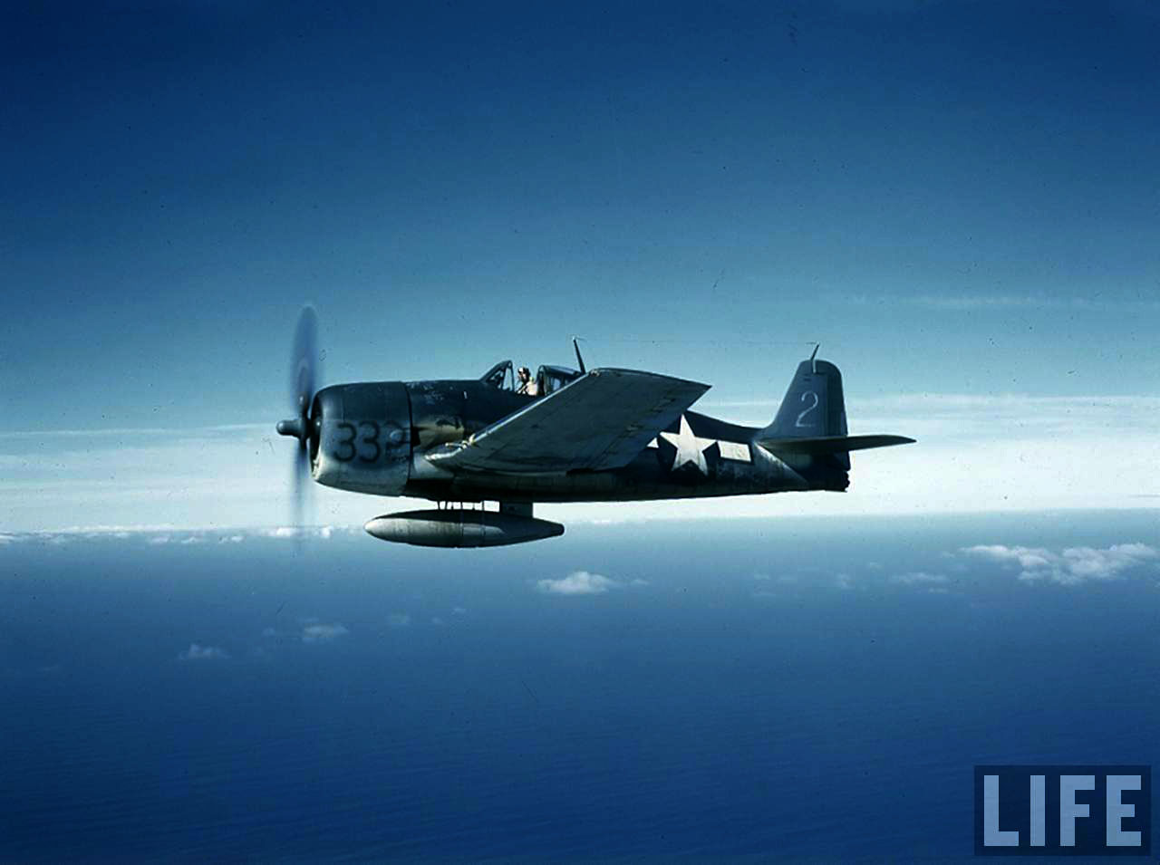 Grumman F6F 3 Hellcat Time Life color photo showing 332 pre unit delivery markings 01