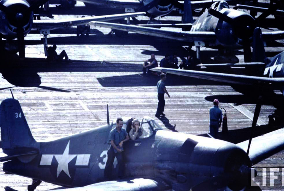Grumman F6F 3 Hellcat Time Life color photo showing White 34 on a typical crowded flight deck 01