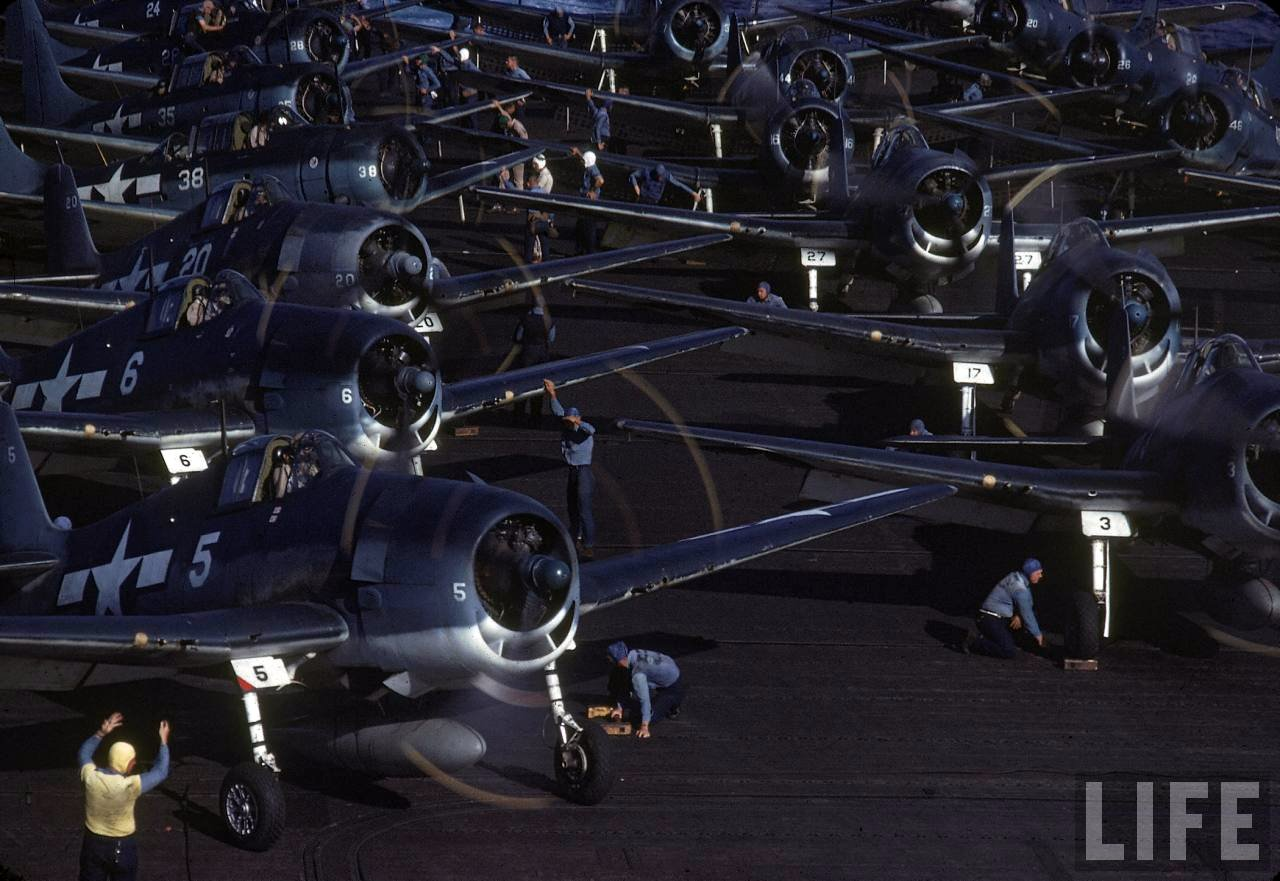 Grumman F6F 3 Hellcat Time Life color photo showing White 5 on a typical crowded flight deck 01