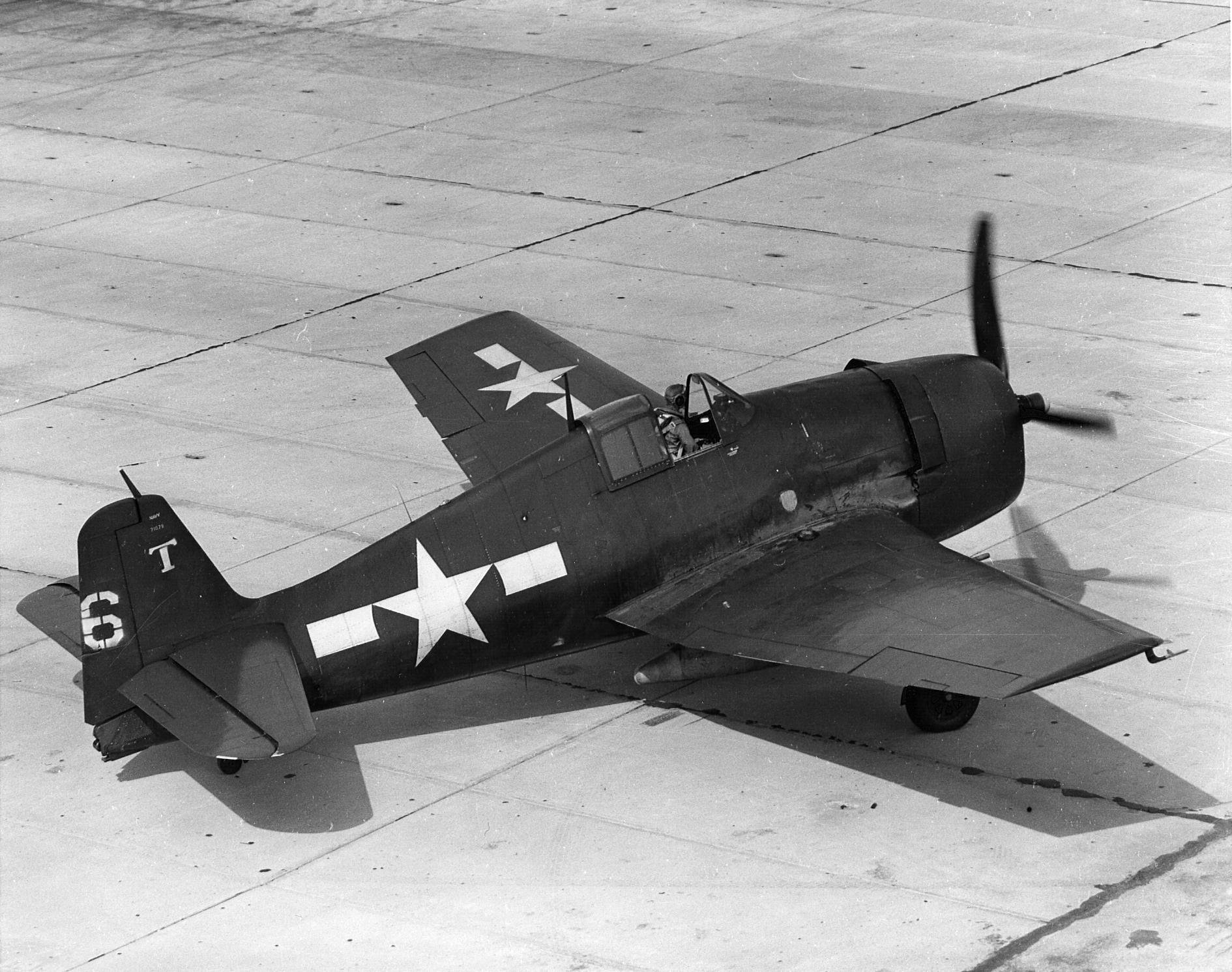 Grumman F6F 3 Hellcat VF 42 White T6 on the ground at Atlantic City NJ 01