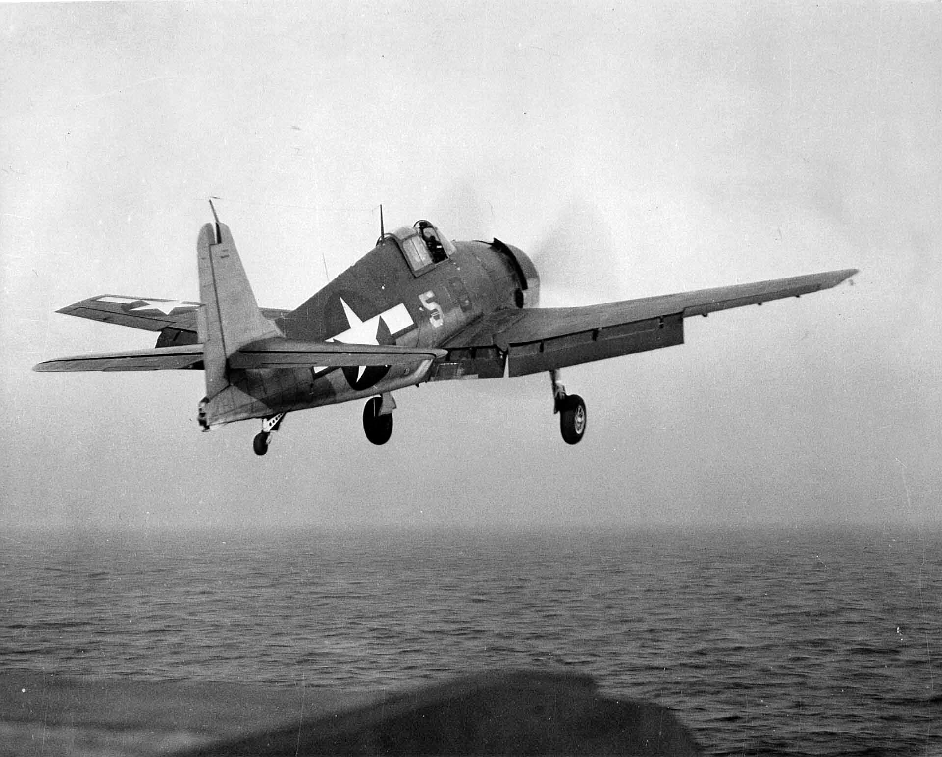 Grumman F6F 3 Hellcat VF 50 White 5 launched from CVL 29 USS Bataan off Chesapeake Bay Jan 1944 01