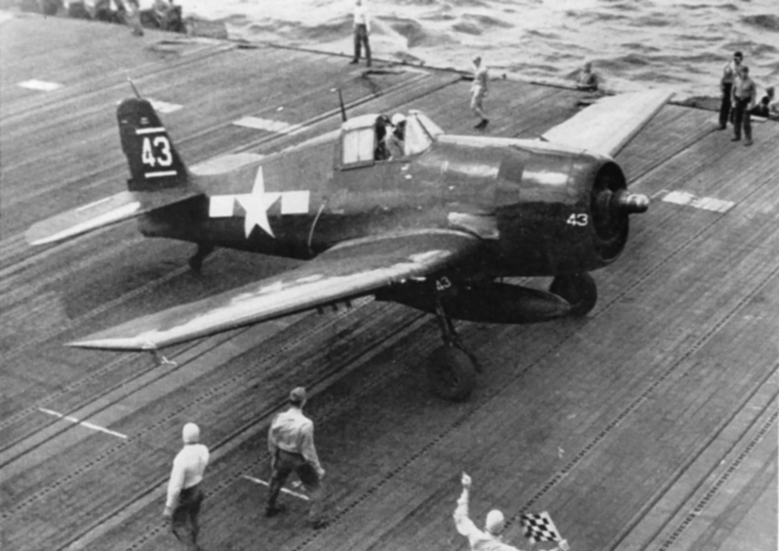 Grumman F6F 3 Hellcat VF 8 White 43 aboard CV 17 USS Bunker Hill off Saipan 01