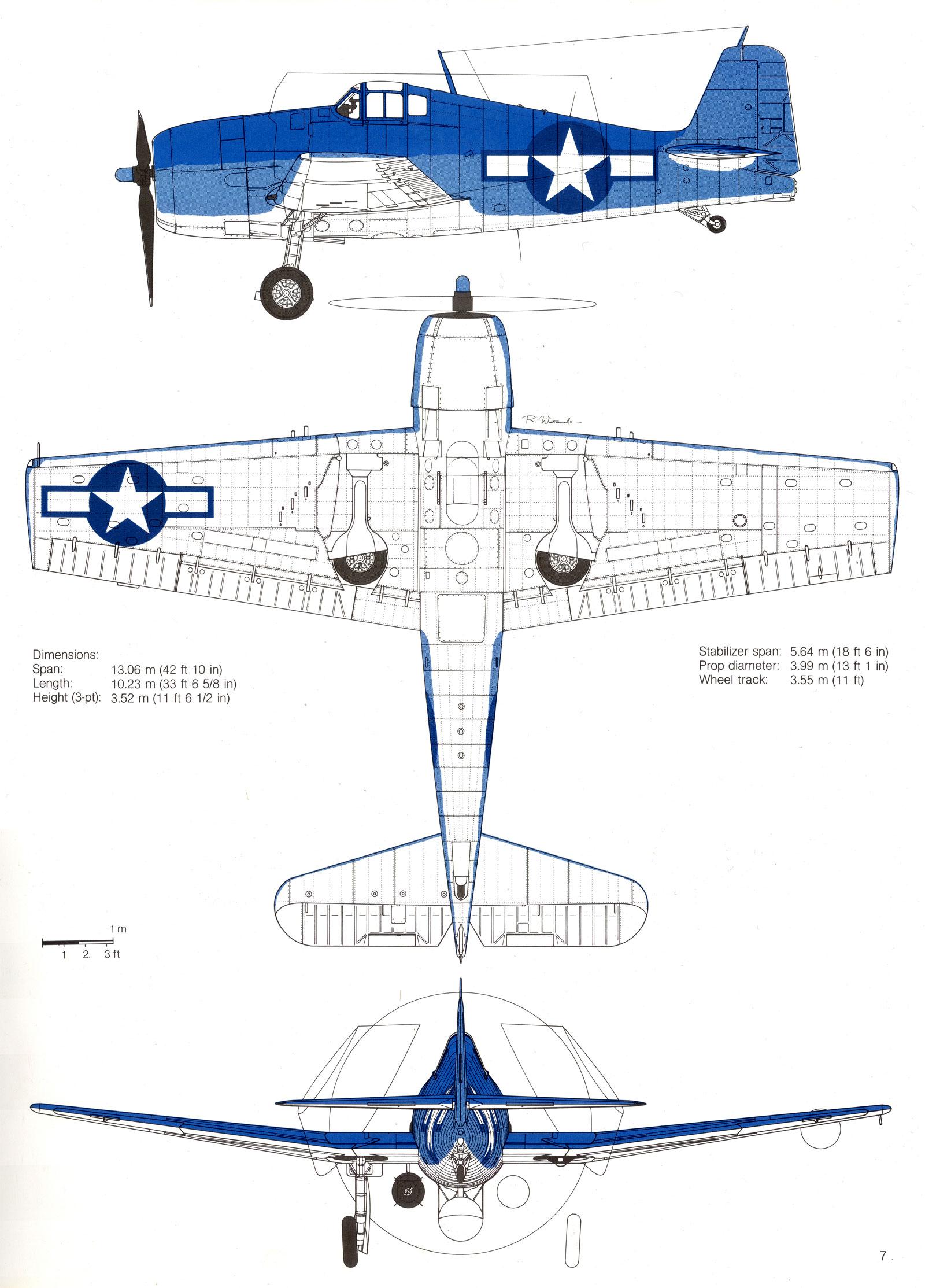 Grumman F6F 3 Hellcat showing standard three tone camouflage 0B