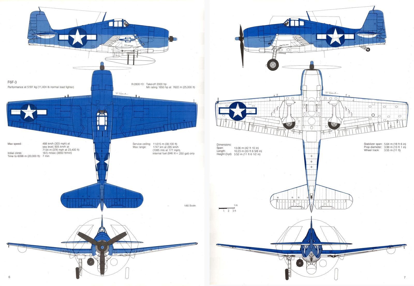 Grumman F6F 3 Hellcat showing standard three tone camouflage 0C