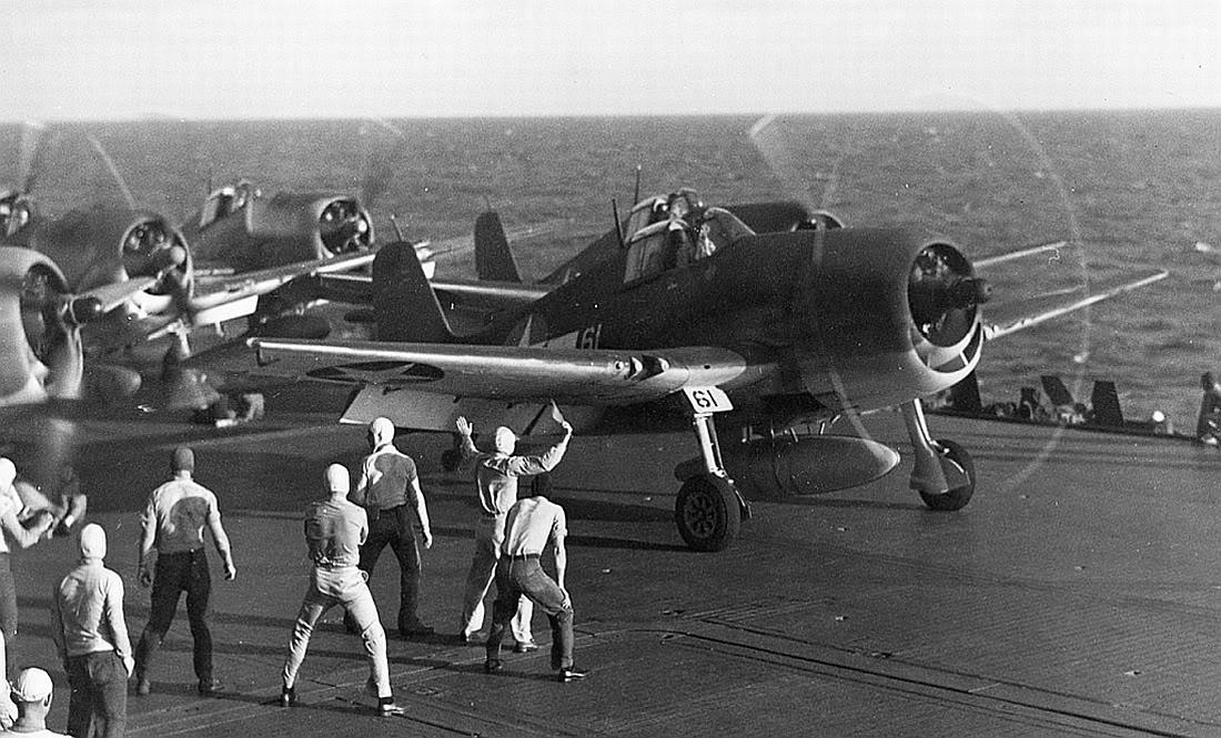 Grumman F6F 3 Hellcats preparing for luanch from USS Saratoga CV 3 1943 01