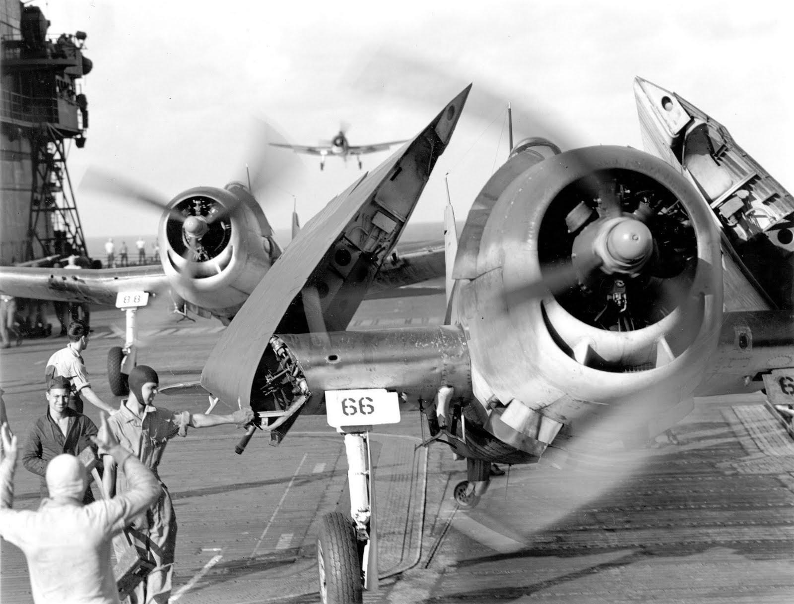 Grumman F6F 3 Hellcats recovering on CV 6 USS Enterprise after raid on Tarawa Atoll Nov 1943 01