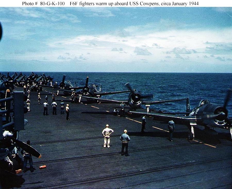 Grumman F6F 3 Hellcats warm up their engines USS Cowpens Jan 1944 01