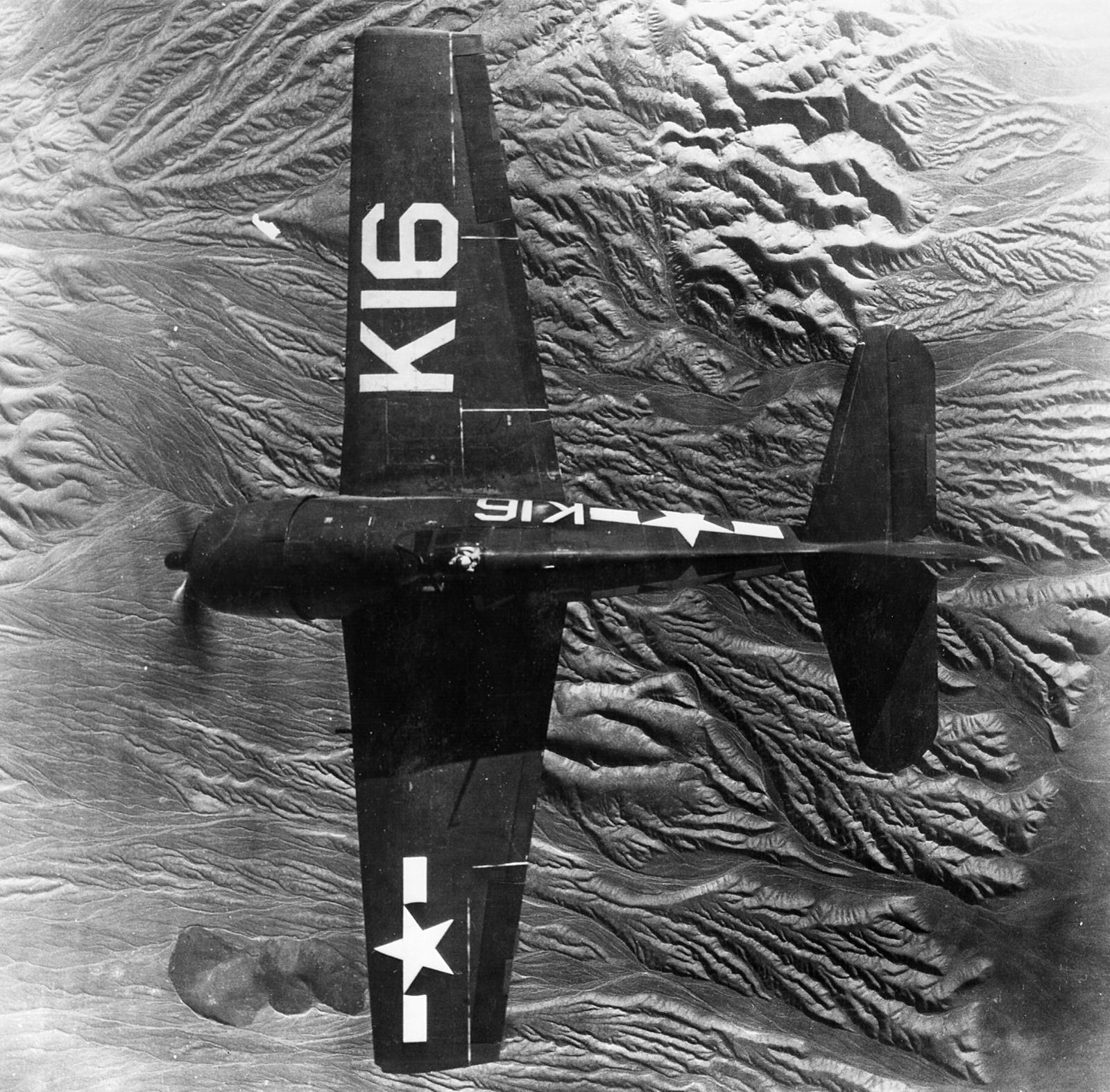 Grumman F6F 3P Hellcat VF 17 White K16 viewed from above 1945 01