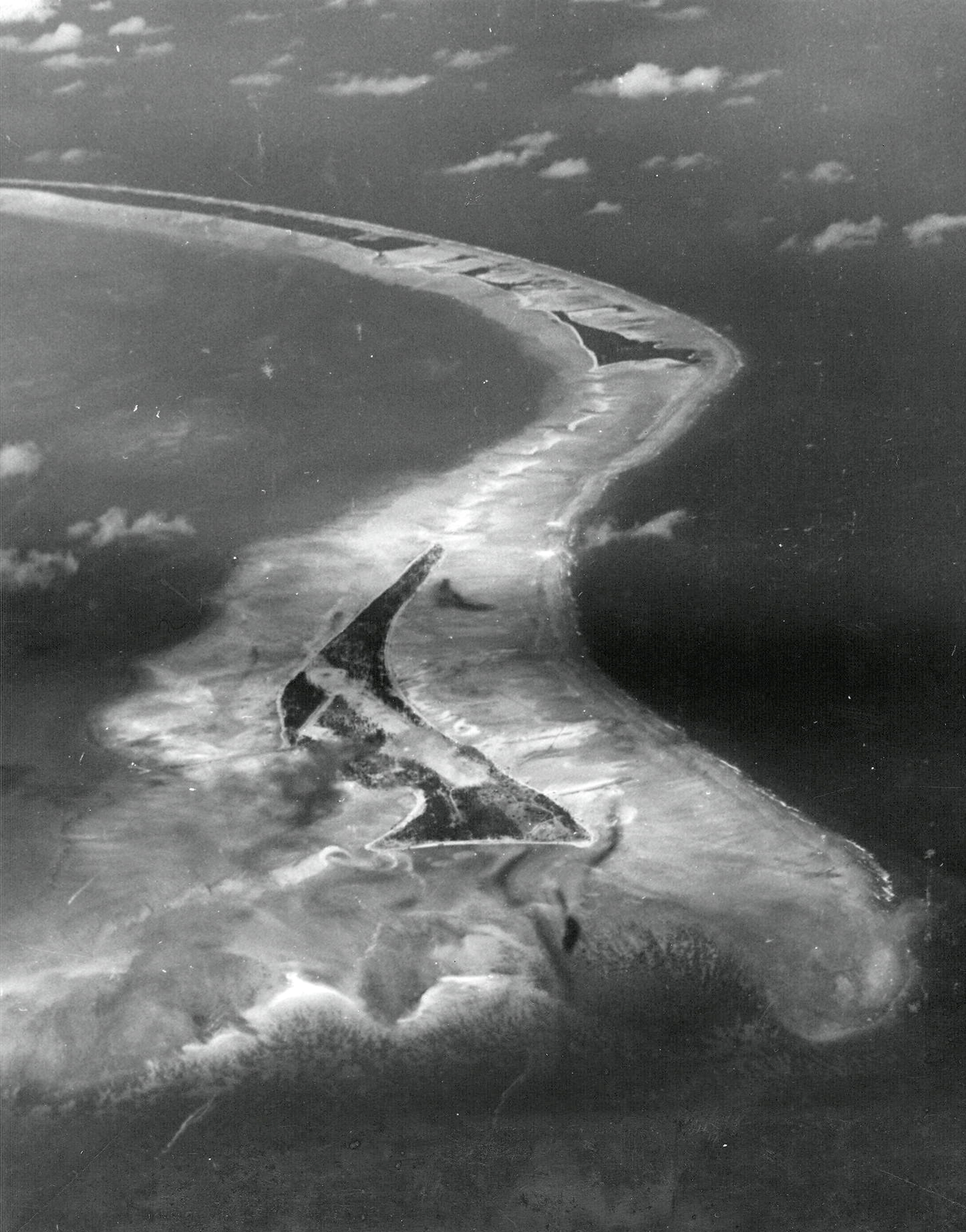 Aerial view of Betio Island Tarawa Atoll before invasion of the island by US Marines Sep 1943 01