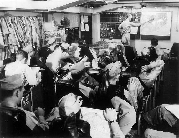 Aircrew USN VF 74 pilots aboard USS Kasaan Bay during Operation Dragoon August 1944 01