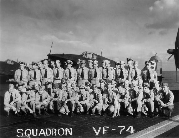 Aircrew USN VF 74 pilots aboard USS Kasaan Bay during Operation Dragoon August 1944 02