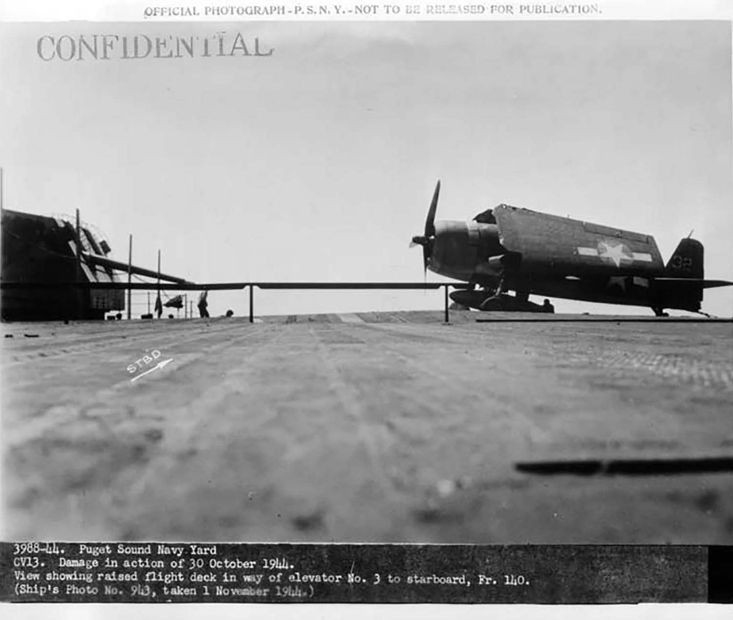 CV 13 USS Franklin nicknamed Big Ben battle damaged 30th Oct 1944 02