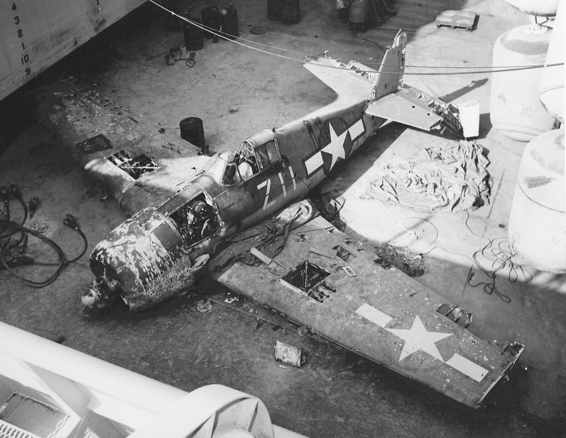 Grumman F6F 5 Hellcat VF 21 White Z11 ditched off the coast of San Diego CA salvaged 1970 03