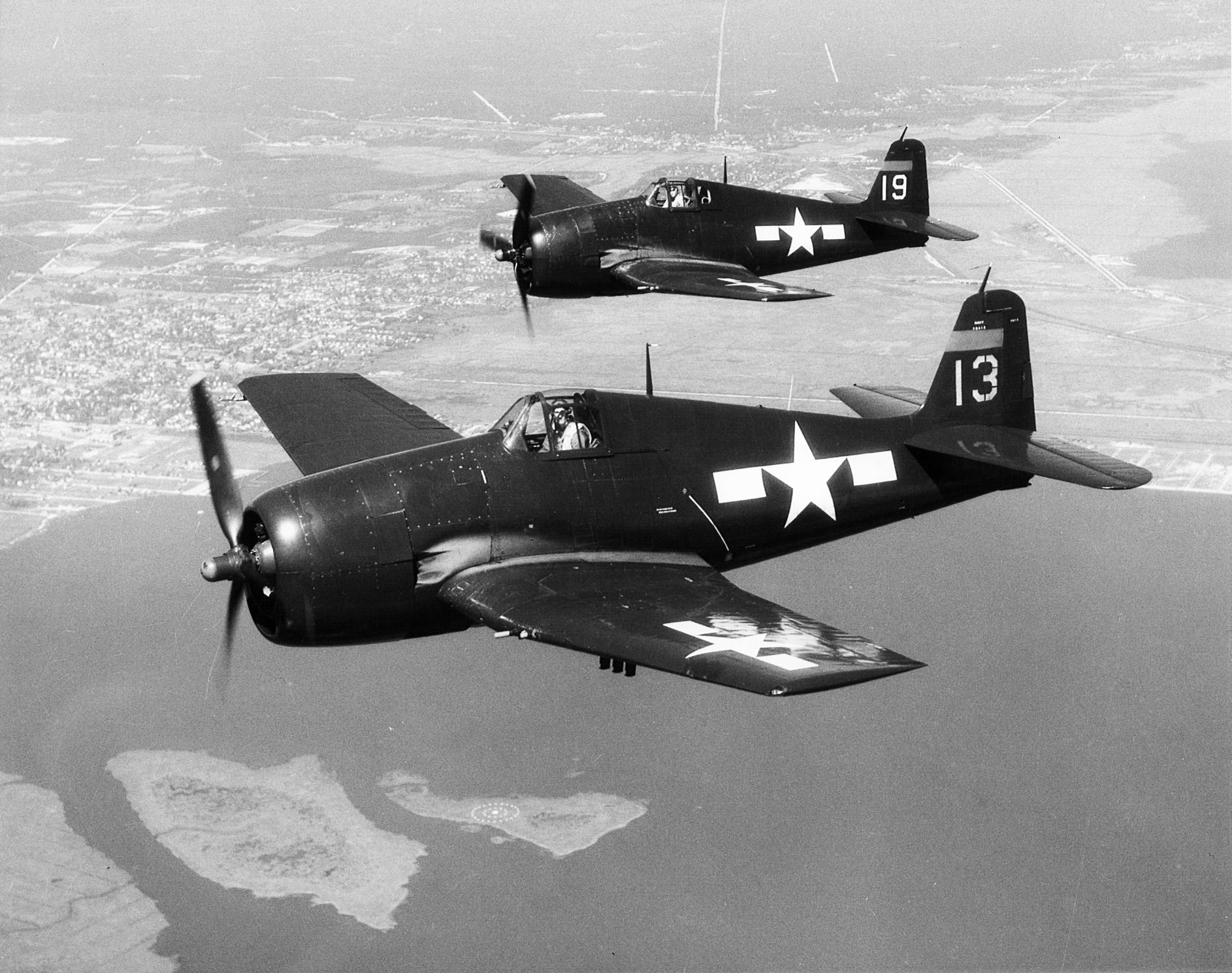 Grumman F6F 5 Hellcat VF 75 White 13 and 19 flying near Atlantic City NJ 01