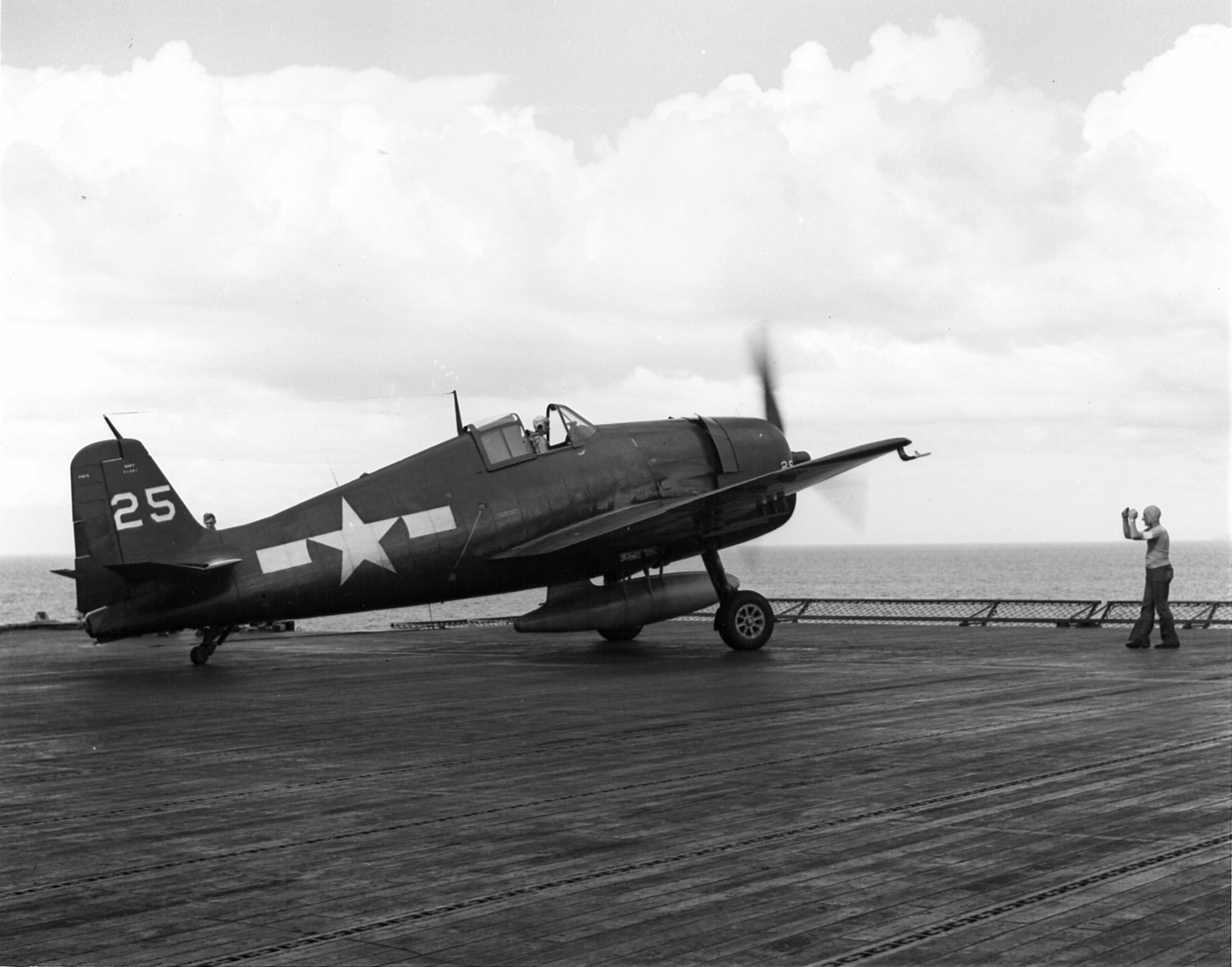 Grumman F6F 5 Hellcat VF 87 White 25 preparing to launch CV 15 USS Randolph 1945 01