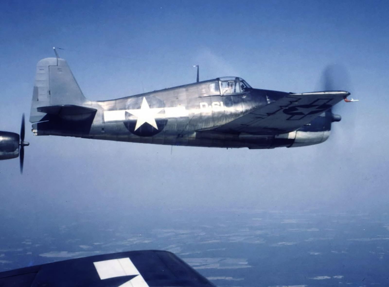 Grumman F6F 5 Hellcat VMD 354 White D61 areial shot 1944 01