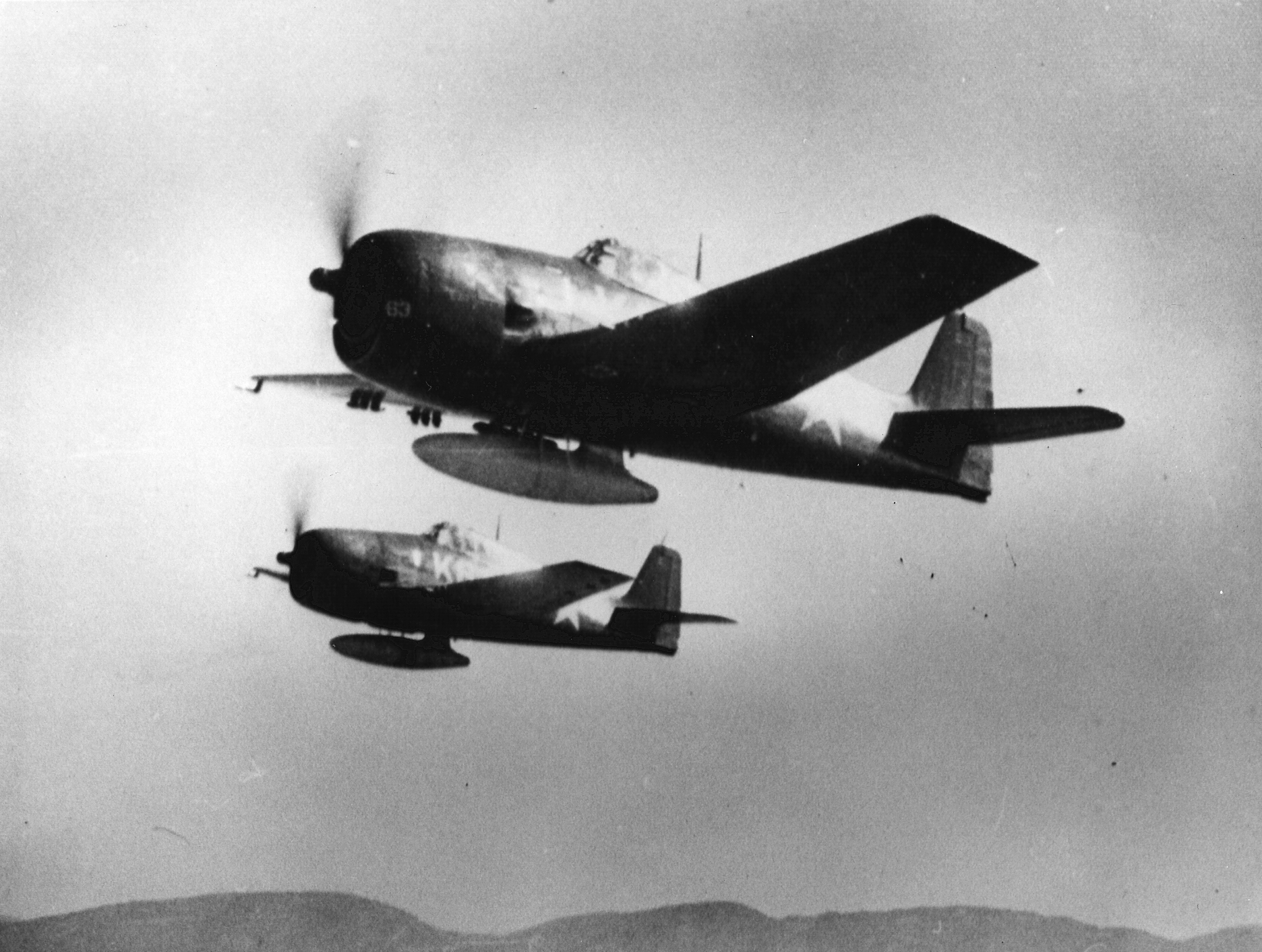 Grumman F6F 5 Hellcat VMF 321 White K63 and K64 over MCAS El Toro CA 02