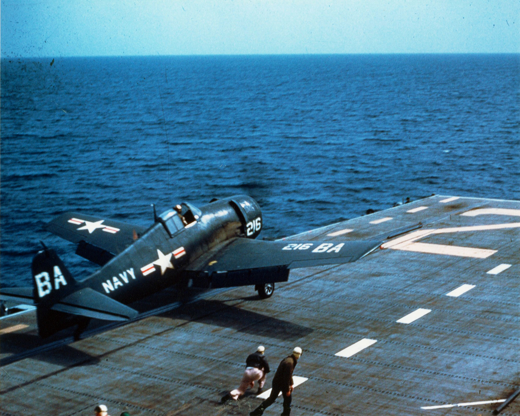 Grumman F6F 5 Hellcat WHite BA216 being launched from USS Monterey Gulf of Mexico 1953 01