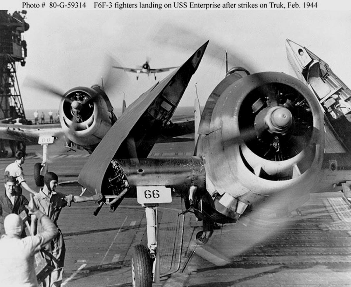 Grumman F6F 5 Hellcat White 66 landing back onboard USS Enterprise Feb 1944 01