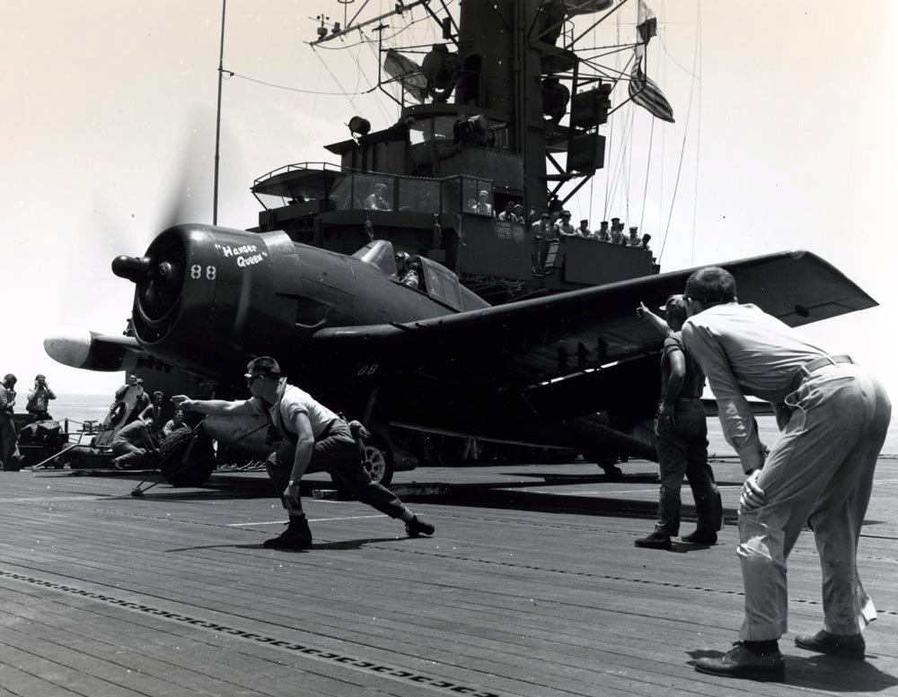 Grumman F6F 5N Hellcat Nightfighter White 88 Hanger Queen being launched CVE 106 USS Block Island May 1945 01
