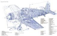 Asisbiz Artwork showing internal structure of a typical Grumman F6F 5 Hellcat 0A