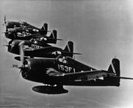 Asisbiz Grumman F6F 5 Hellcat VF 153 White 153F71, F53, F54 and F55 in tight formation 01